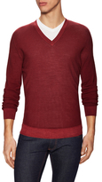 Z Zegna Wool Ribbed V-Neck Sweater