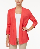 Charter Club Petite Honeycomb-Stitch Open-Front Cardigan, Created for Macy's