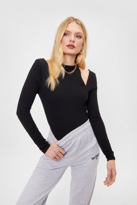 Nasty Gal Womens The Shoulder Goes On Ribbed Cut-Out Top - Black