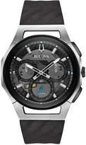 Bulova Men's Chronograph Curv Black Rubber Strap Watch 44mm 98A161