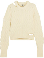 Topshop Cutout Cable-knit Sweater - Cream