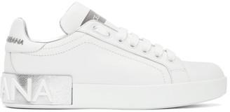 Dolce & Gabbana White and Silver Portofino Sneakers