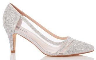 Dorothy Perkins Womens Quiz Silver Diamante Mesh Mid Heel Courts, Silver