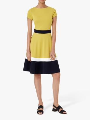 Hobbs Seasalter Colour Block Flared Dress, Yellow/Navy