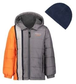 London Fog Toddler Boys Hooded Bubble Jacket with Hat Set