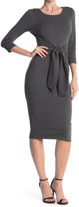MelloDay Tie Waist 3/4 Sleeve Midi Sheath Dress