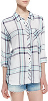 Rails Hunter Long-Sleeve Oversized Plaid Top, White/Navy/Mint
