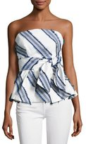 Milly Kylie Diagonal-Striped Off-the-Shoulder Top, Navy