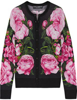Dolce & Gabbana Floral-print Cashmere And Silk-blend Cardigan - Pink