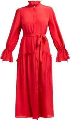 Beulah Darsha Ruffled Silk Midi Dress - Dark Pink
