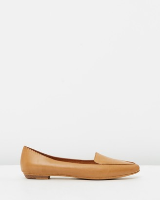 Mollini Women's Brown Ballet Flats - Gyro Leather Flats - Size 37 at The Iconic