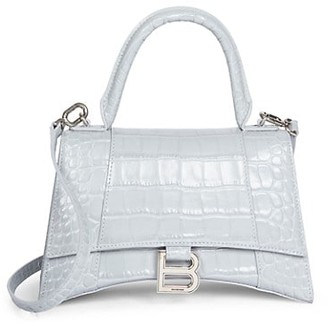 Balenciaga Small Hour Croc-Embossed Leather Top Handle Bag