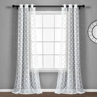 Lush Decor 2-pack Textured Dot Grommet Sheer Window Curtain Set