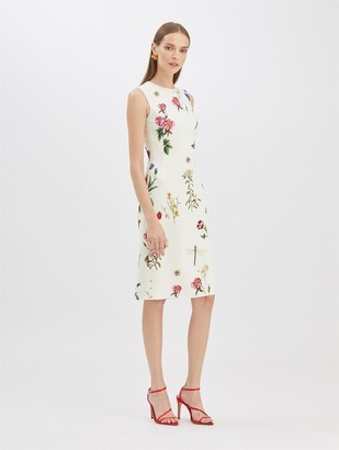 Oscar de la Renta Butterfly Floral Pencil Dress