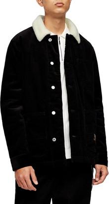 Topman Borg Faux Fleece Lined Corduroy Chore Jacket