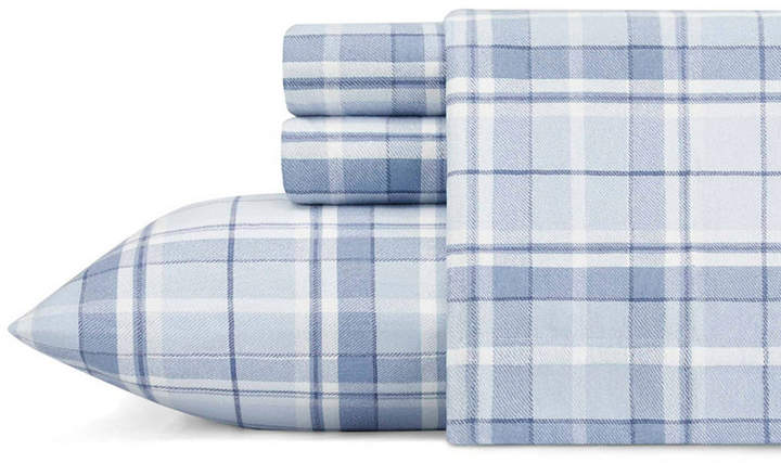 Laura Ashley Mulholland Plaid Lt-Pastel Blue Twin Flannel Sheet Set Bedding
