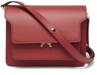 Marni Trunk Medium Leather Shoulder Bag - Burgundy