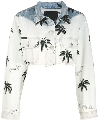 Philipp Plein Paradise print cropped denim jacket