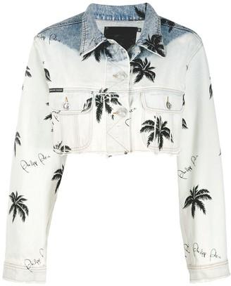 Philipp Plein Paradise print cropped denim jacket