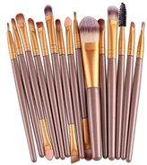 Sankuwen 15PCs Wool Makeup Brush Set Tools Toiletry Kit