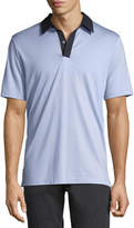 Theory Incisive Contrast-Collar Silk-Cotton Polo Shirt