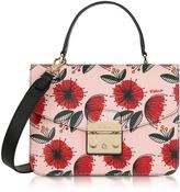 Furla Floral Printed Moonstone Leather Metropolis S Top Handle Bag