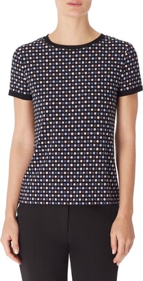 Anne Klein Pearly Dot Button Back Top