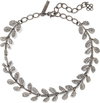 Oscar de la Renta Gunmetal-tone Crystal Necklace