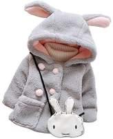JELEUON Kids Baby Toddler Girls Rabbit Ears Winter Fleece Hoodies Coat Jacket Outwear XL