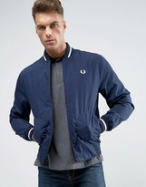 Fred Perry Laurel Wreath Bomber Jacket Made In England In Navy/white
