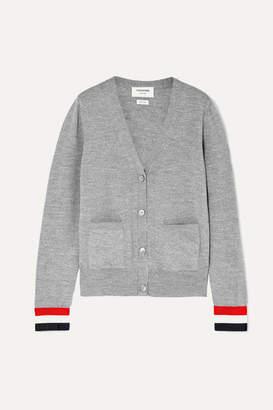 Thom Browne Striped Grosgrain-trimmed Wool Cardigan - Gray