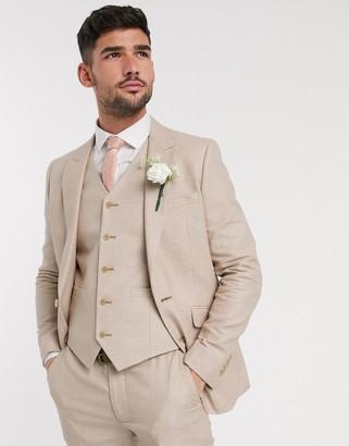 ASOS DESIGN wedding skinny suit jacket in micro texture in camel