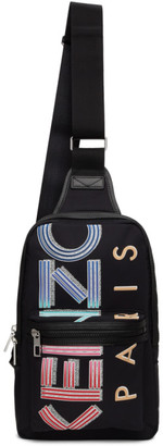 Kenzo Black Crew Logo Crossbody Backpack