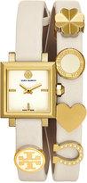Tory Burch Women's Swiss Saucy Ivory Leather Double Wrap Strap Watch 25mm TB5351