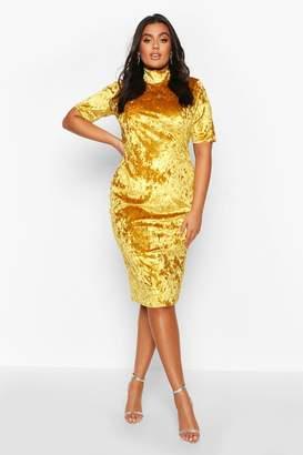 boohoo Plus High Neck Crushed Velvet Midi Dress