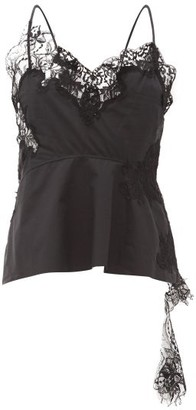 Marques Almeida Marques'almeida - Lace-trimmed Cotton-poplin Camisole Top - Womens - Black