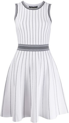 Paule Ka Striped Knit Skater Dress