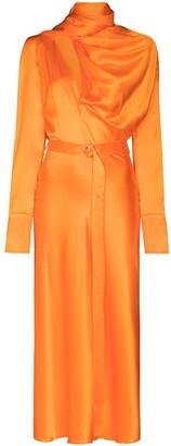 MATÉRIEL Drape-Detail Belted Midi Dress
