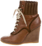 Chloé Leather Wedge Boots