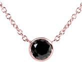 Kobelli Jewelry Kobelli 1/2 CT TW Black Diamond 14K Rose Gold Solitaire Pendant Necklace