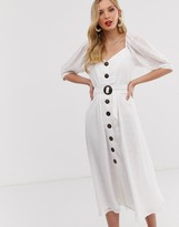 Asos DESIGN button through midi dress with puff sleeves and buckle belt in self stripe