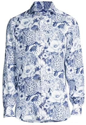 Kiton Large Floral-Print Sport Shirt