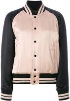 Saint Laurent striped trim bomber jacket - women - Cotton/Acrylic/Polyamide/Wool - 36
