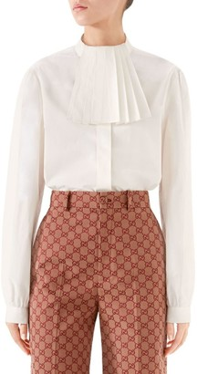 Gucci Heavy Poplin Pleated Collar Blouse