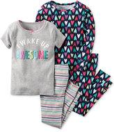 Carter's Girls' or Little Girls' 4-Pc. I Wake Up Awesome Pajama Set