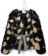 Une Fille - belted faux fur jacket - kids - Acrylic/Modacrylic/Polyester - 14 yrs