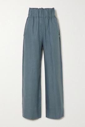BONDI BORN Universal Linen-twill Wide-leg Pants - Petrol