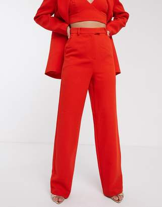 Asos Edition EDITION high waist mansy suit pants-Red