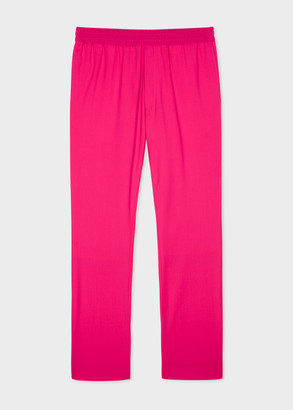 Paul Smith Men's Fuchsia Wool-Stretch Trousers With Elasticated Waistband