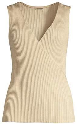 Elie Tahari Rudie V-Neck Rib-Knit Sleeveless Sweater